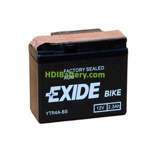 Batería AGM Exide moto YTR4A-BS 12V. 2,3 Ah